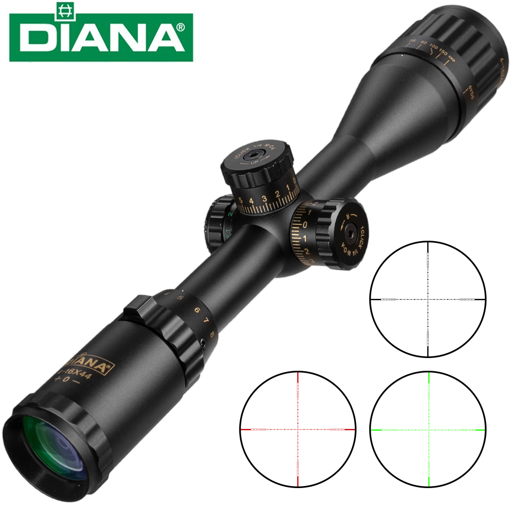 DIANA 4-16x44 Cross Sight Green Red Illuminated Tactical Optic Riflescope Hunting Rifle Scope Sniper Airsoft Air Guns