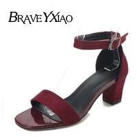 High Heel Sandals Women Summer Shoes Elegant Women's Square Heel Sandals YX2940