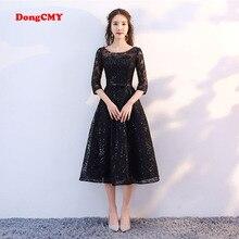 DongCMY Mới Đến 2019 Ngắn Màu Đen Prom dress Tea Chiều Dài Thanh Lịch Cô Gái Bên Buổi Tối Dresses