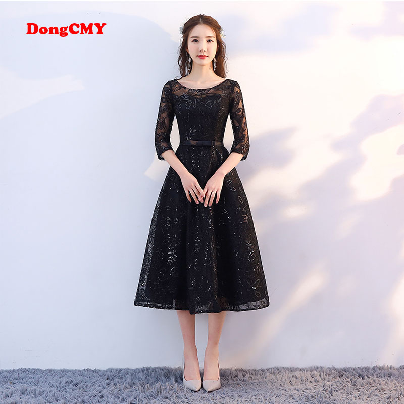 Dongcmy New Arrival 2018 Short Black Color Prom Dress Tea Length