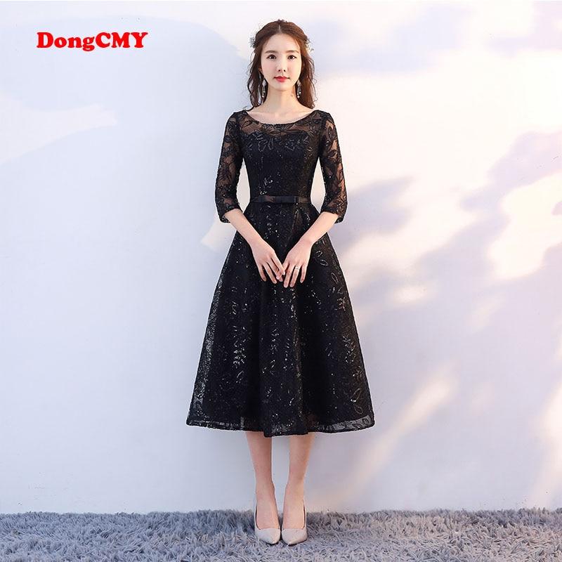 DongCMY New Arrival 2019 Short Black Color   Prom     dress   Tea-Length Elegant Party Girls Evening   Dresses