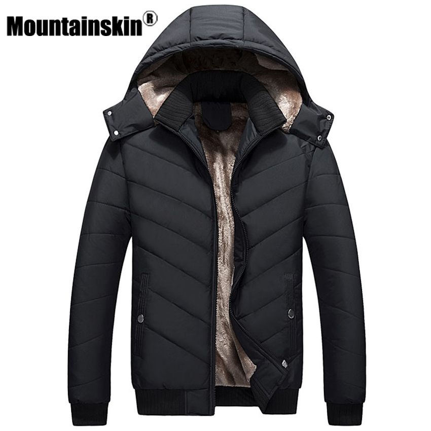 Mountainskin Winter Men s Jackets 4XL Thick Solid Parkas Men Coats Fleece Slim Fit Hooded Jacket