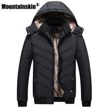 Mountainskin Winter Men's Jackets 4XL Thick Solid Parkas Men Coats Fleece Slim Fit Hooded Jacket Male Outerwear Casual SA346