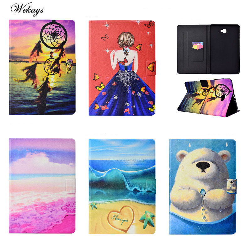 Wekays Cartoon Case Cover Bear Girl For Samsung Galaxy Tab A6 A 6 2016 10.1 T585 T580 T580N Funda cases PU Leather Stand Shell