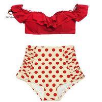 Tengweng 2017 New Women Sexy Vintage Polka Dots Red Ruffle Bikini Set High Waist Swimsuit Padded