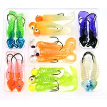17 Pcs 7g 8g Jigs Head Fishing Lures Fish Head & Round Head Lead Jig head Hook Worm Tail Wobblers Artificial Baits Carp Fishing
