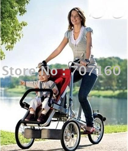 Child And Mother Stroller Bike With Extra Baby Car Seat 1pc Free Ship