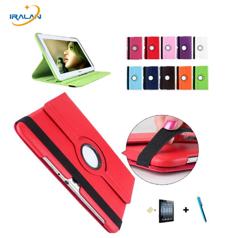 Hot Cover For Samsung Galaxy Note 10.1 N8000 N8010 N8020 Tablet 360 Rotation Leather Flip Case+Screen Protector film+stylus pen