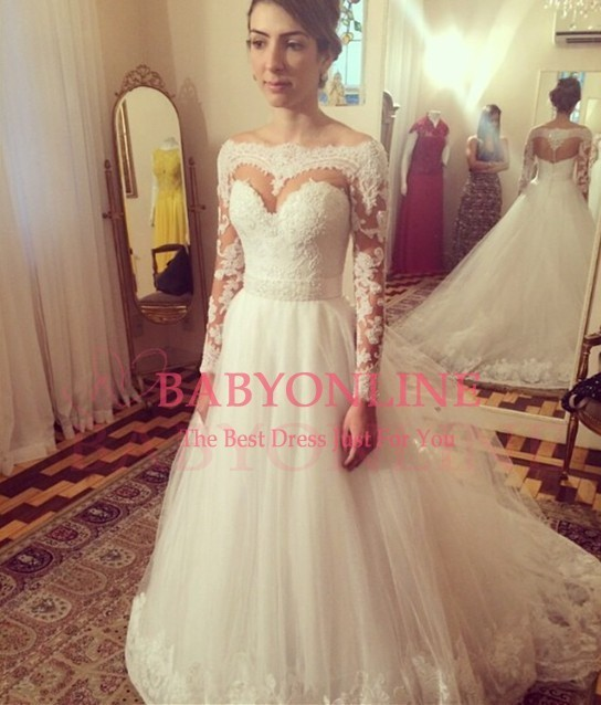 Fashionable Romantic Princess Cut Wedding Dresses Ball Gown Long