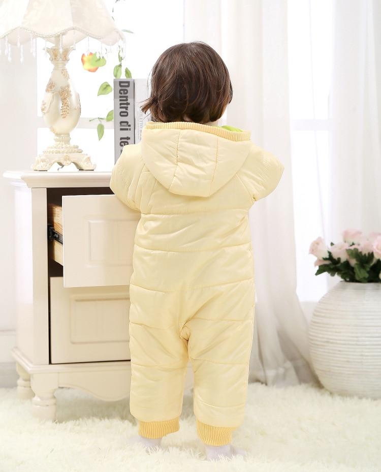 Купить с кэшбэком 0-18Months/Winter Newborn Rompers Unisex Snowsuit Baby Girls Boys Clothing Hooded Warm Thick Infant Jumpsuit Kids Clothes BC1351