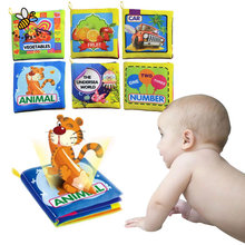 Baby Toys 0-12 Months Intelligence Development Cloth Book Soft Rattles Unfolding Activity Books Cute Animals Kids Toys