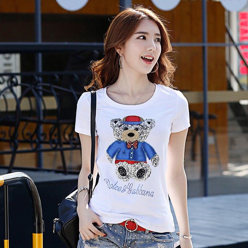 Femmes La Nouvelles De À Noir Shirt Mode Main Impression T Dresy shirts D'été T blanc Dames Spéciale Shirts Strass Faits Offre Hauts Perles Damskie Animal Haute qxRwnFf