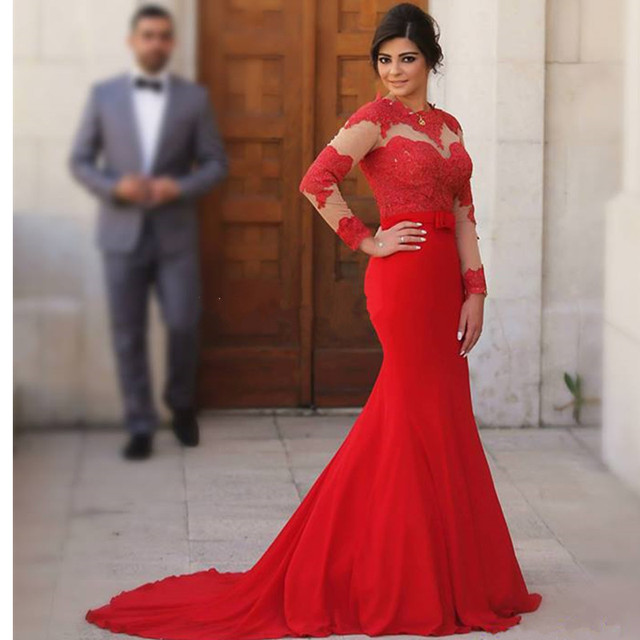 9e7cf21f3c04 Arabic Red Mermaid Evening Dresses Scoop Long Sleeves Lace Appliques Sash  2017 Evening Formal Gowns