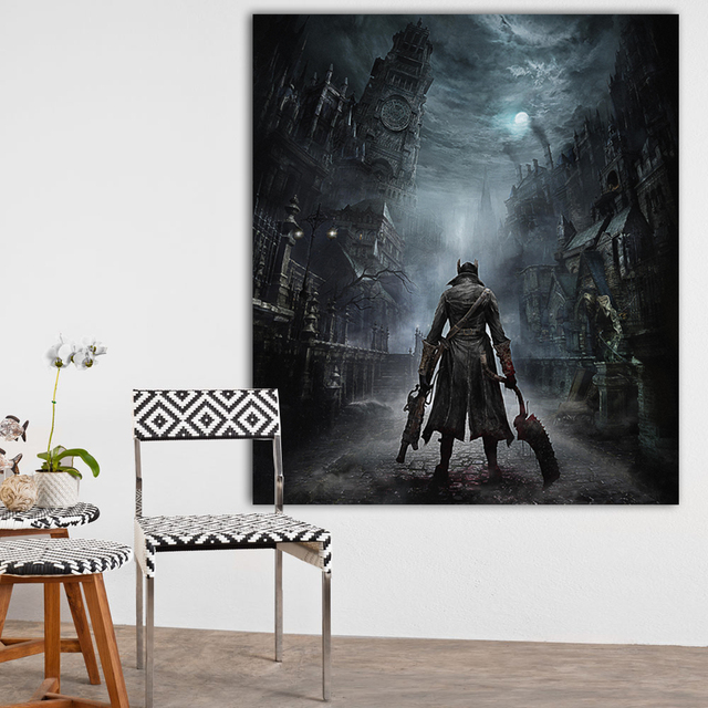 Bloodborne Art Poster Print Game Hunter Canvas Painting Picture for Living Room Wall Decoration Modern Abstract Canvas Paintings 1