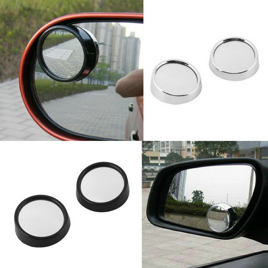 2pcs Clear Car Rear View Mirror 360 Rotating Safety Blind Spot Mirror Parking Round Convex Black Hot Drop Shipping