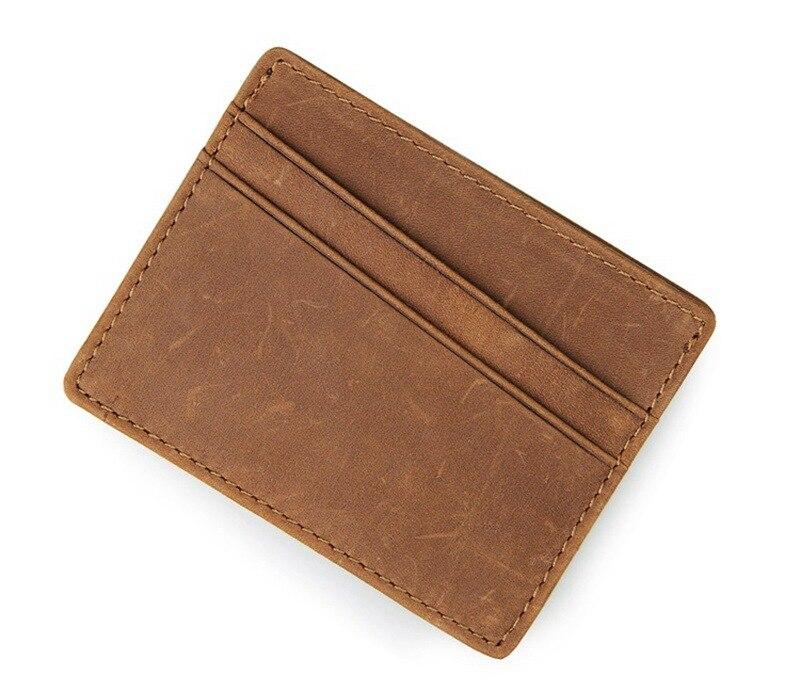Nesitu Vintage Coffee / Brown Cowhide Simple Men Credit Card Holder Genuine Leather Mini Wallets #M8101