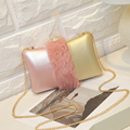 Luxury fashion personality really rabbit hair color mosaic diamond wedding party clutch evening bag chain shoulder bag mini flap