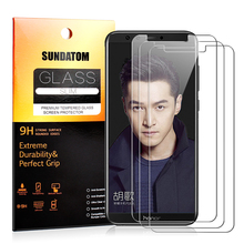 SUNDATOM For Huawei Honor 9 Lite [ Honor 9 Youth Edition ] 3PCS Tempered Glass Screen Protector Film HD Vision Protective Glass