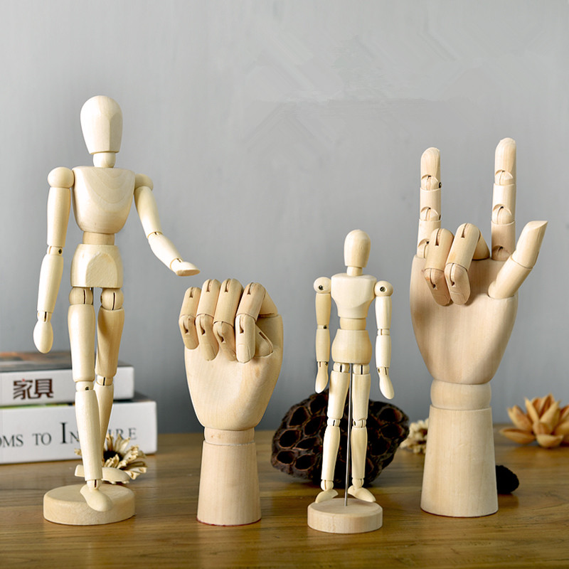 Northern Europe Lotus Wooden Man Joint Hand Model Creative Sketch clothing store art Children's intelligence development Toys image