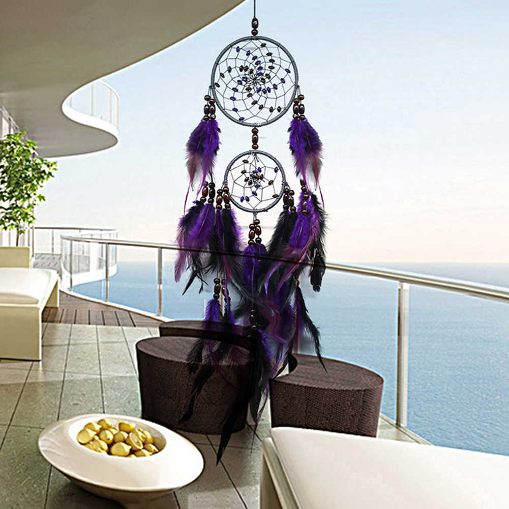 Purple Feather Crafts Dream Catcher Wind Chimes Handmade Dreamcatcher Net for Wall Hanging Car Home New Year Decoration Gifts