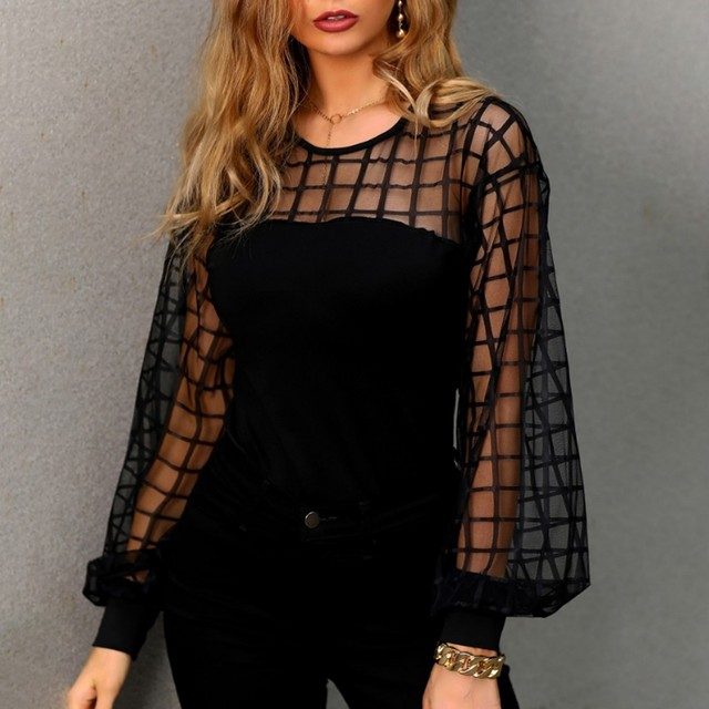 Sexy Lace Mesh Shirt Women's Summer Solid Color Stripe Long Sleeve O Neck Hollow Casual Blouse Tops Shirts Female Blouse