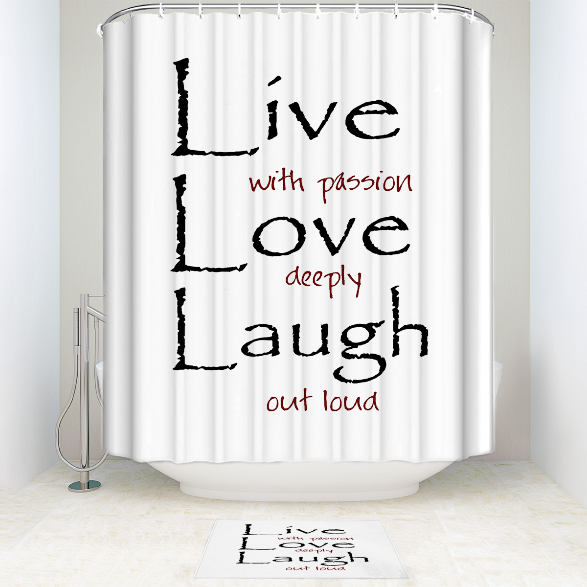 Live Love Laugh Shower Curtain And Mat Set Funny Waterproof Fabric Bathroom In Curtains From Home Garden On Aliexpress Alibaba Group