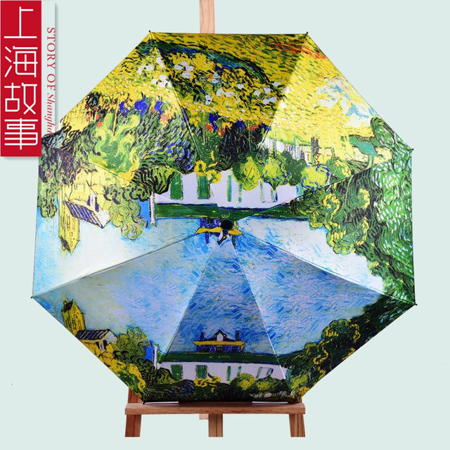 Us 22 89 High Quality Claude Monet Famous Oil Painting Umbrella Woman 3 Folding Parasol Fashion Lady Portable Girl Friend Gift For Wife In Umbrellas