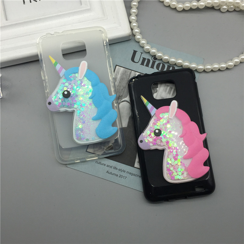3D Unicorn Quicksand Liquid Soft Silicone Case for Samsung Galaxy S2 S 2 SII i9100/S2 Plus i9105 Phone Cover Cartoon Diamond