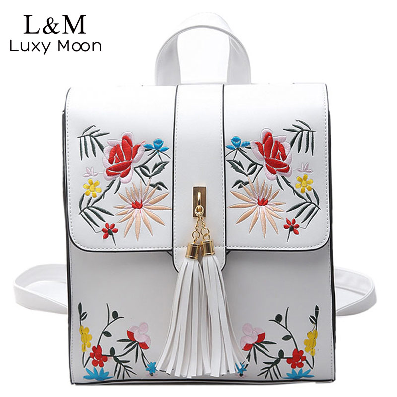 LUXY MOON Women Backpack PU Leather Backpacks Floral Bags Fashion Tassel Teenage Girls Embroidery Rucksack 2017