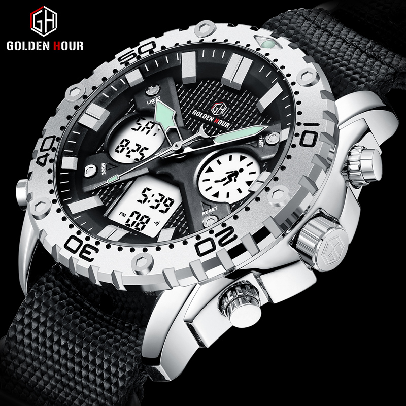 GOLDENHOUR 2019 Top luxurious Sports Fashion Men Watch Waterproof Analog Digital Wristwatch Dual Display Silver Case Male Clock(China)