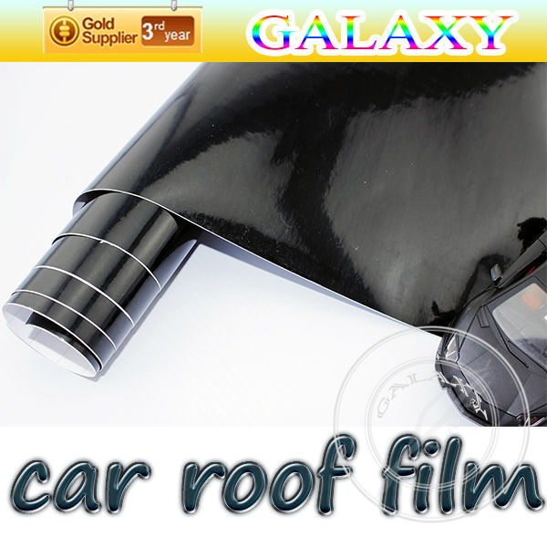 free shipping by fedex gloss black vinyl roof wrap 135x1500cm car skylight mould membrane sticker 3 layer film air free bubble