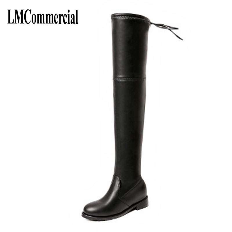 2017 new thigh women boots increased thick with elastic thin boots all-match warm winter high shoes