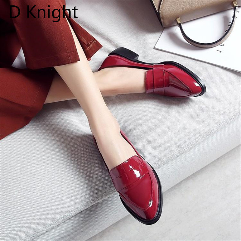 Large Size 32-43 Lady Casual Flat Loafers Shoes Fashion Patent Leather Pointed Toe Women's Flats British Black Red Women Oxfords (8)