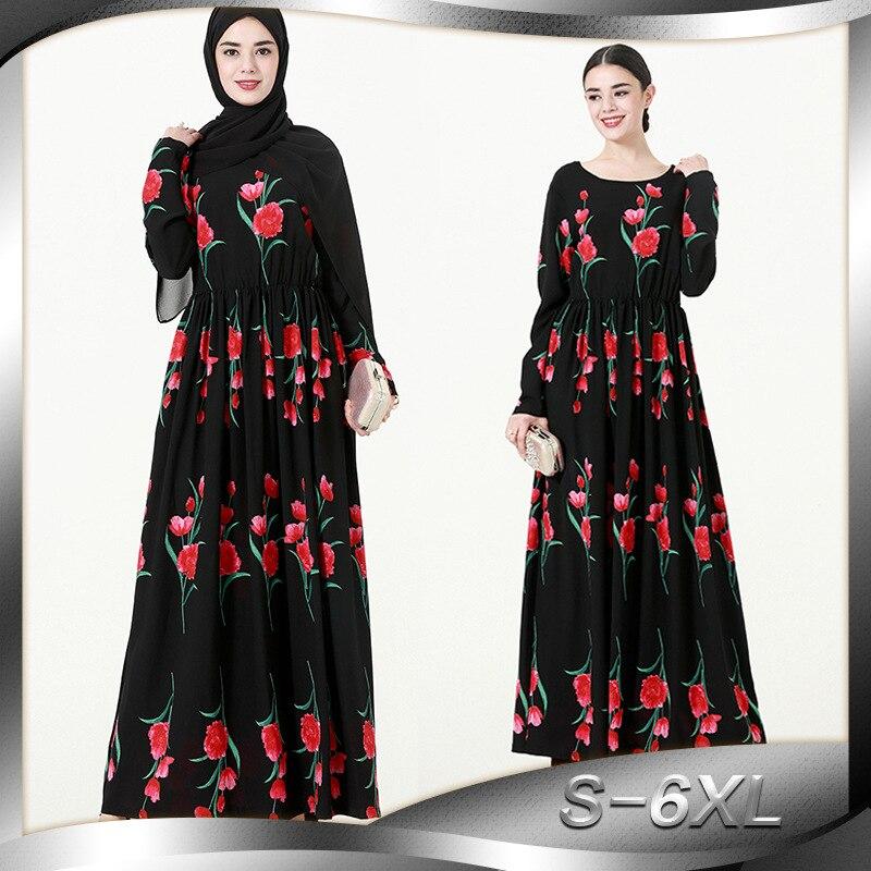 2018 Women muslim Dress O Neck Long Sleeve Patchwork Elegant Plus Size 6XL Printed Flower Robe Abaya Dubai Dress Turkish Jilbab
