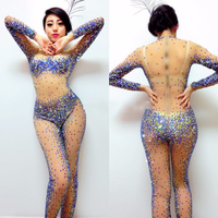 2018 Sexy Perspective Rhinestone Jumpsuit JAZZ Dj Costume Nightclub DS Singer Stage Outfits Crystal Bodysuit Rave Clothes DN2007