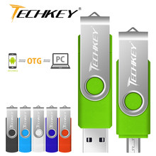 pen drive otg usb flash drive techkey 4gb 8gb 16gb 32gb 64gb for android mobile phone flash memory stick pendrive mini usb 2.0(China)