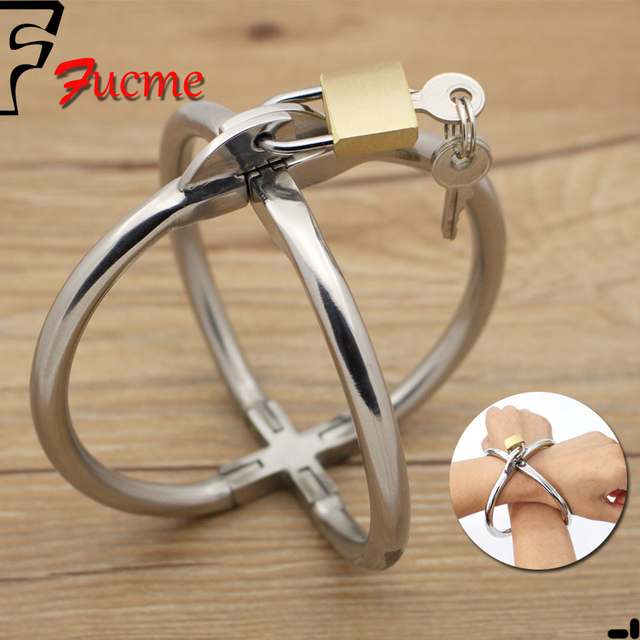 2016 New style Stainless Steel Metal handcuffs,female Stainless steel crossover fun hand cuffs,erotic toys sex toys for couples