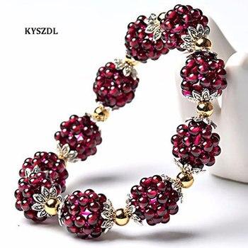 KYSZDL gran oferta de alta calidad Natural granate pulsera moda mujer cristal pulsera joyería regalos