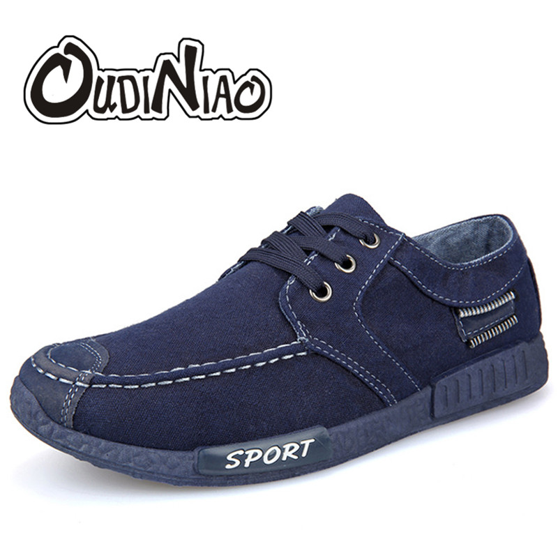 OUDINIAO Men Shoes Canvas Denim Lace Up Men Casual Shoes New 2018 Plimsolls Breathable Male Footwear Spring Sneakers Black Blue