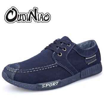 OUDINIAO męskie buty płótnie Denim Lace Up mężczyźni buty w stylu casual nowy 2018 oddychające męskie obuwie tenisówki wiosna Sneakers czarny niebieski