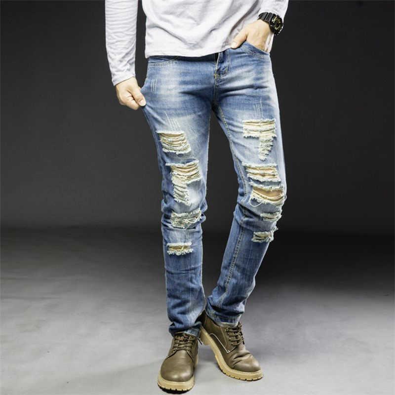 Для мужчин джинсы однотонные отверстия Классический прямой крой повседневные длинные брюки KNG88