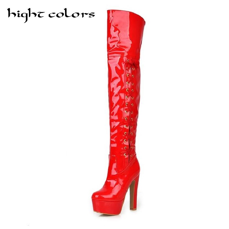 Plus Size 43 Fashion Thigh High Heels Boots For Women Lace Up Platform High Heels Over The Knee Boots Sexy Steel Pipe Dance Boot jialuowei women sexy fashion shoes lace up knee high thin high heel platform thigh high boots pointed stiletto zip leather boots