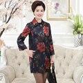Плюс размер 4XL весна широкий талией печати длинные женщины шифон пальто 2017 Мода черный три четверти рукав пальто женский