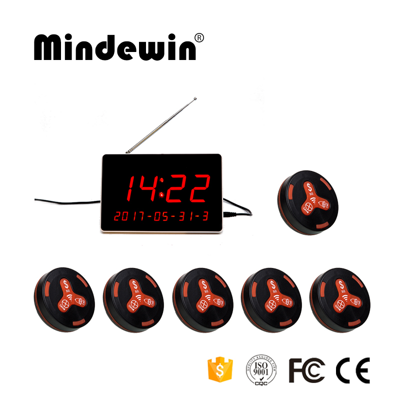 Mindewin Wireless Calling System 1pc LED Display Receiver M-R-1 and 6pcs Waiter Call Button M-K-3 Wireless Waiter Pager System mindewin restaurant wireless paging system 433mhz pager 12pcs table call button m k 1 and 2pcs wrist watch pager m w 1