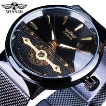 Kazanan 2019 moda siyah altın örgü kemer su geçirmez aydınlık eller mekanik bilek saatler Top marka lüks iş saati