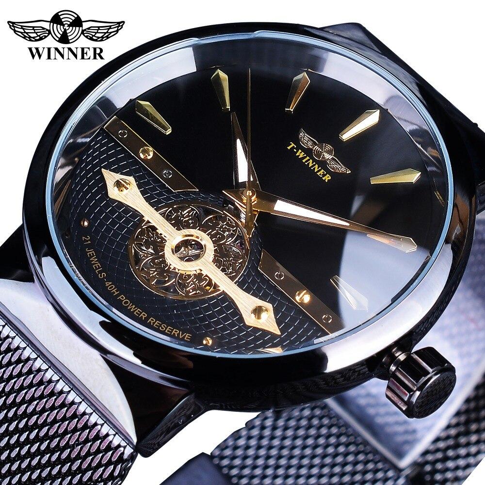Winner 2019 Fashion Black Golden Mesh Belt Waterproof Luminous Hands Mechanical Wrist Watches Top Brand Luxury Business Clock