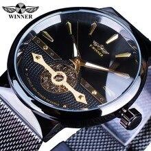 Winner 2019 correa de malla dorada negra a la moda relojes de pulsera mecánicos manos luminosas impermeables reloj de negocios de lujo de la mejor marca