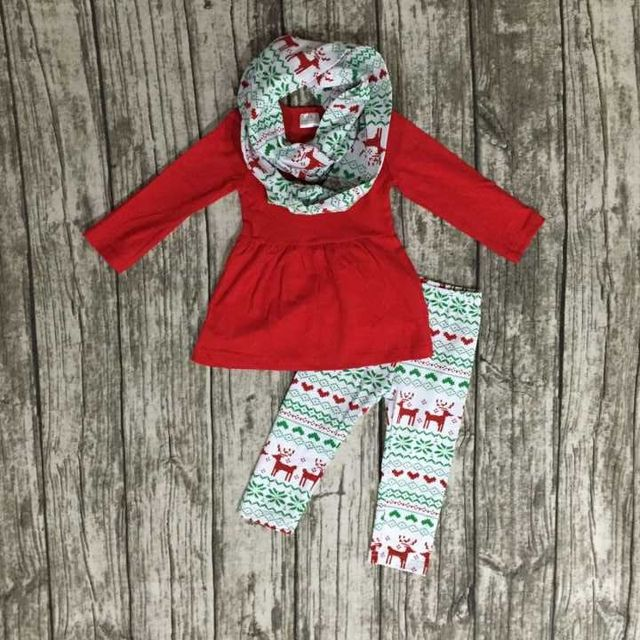 FALL OUTFITS persnickety girls 3 pieces scarf sets girls Christmas pant sets kids reindeer clothes kids red top sets