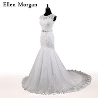 Real Picture Wedding Dresses 2017 Cheap Vestidos De Noiva Lace Appliques Custom Made Marry Mermaid Belt