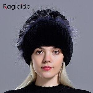 Image 3 - נשים ארנב פרווה כובע חורף חם אופנה ליידי כפת כובע שועל פרווה כובעים בעבודת יד סרוג כובע כובעי gorro כובעי LQ11143